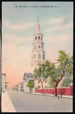 CHARLESTON SC St Michael's Church Vtg 1941 Postcard