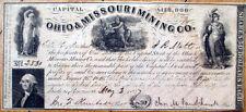 1847 Stock Certificate: 'Ohio & Missouri Mining Company' - OH/MO