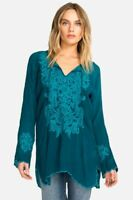 Johnny Was Tania Tunic Long Sleeve Scalloped Hem Embroidered BOHO C22218 NEW