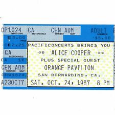 ALICE COOPER & FASTER PUSSYCAT Concert Ticket Stub 10/24/87 SAN BERNARDINO CALI