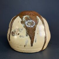 Vintage Studio Art Pottery Vase Weed Pot Cream with Reddish Brown Drip Glaze