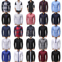 Plus Men Slim Fit Casual Formal Business Long Sleeve Shirts Tops T Shirt Blouse