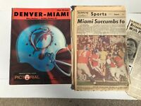 1968 AFL Football Program DOLPHINS @ BRONCOS 10/27 & Newspaper clippings 10/28