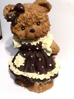 Piggy Bank Teddybear Girl in Pinafore Dress 23 cm x 17 cm hand painted