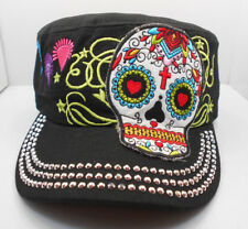 Sugar Skull Bling Cadet In Black Hat New One Size Adj. H37