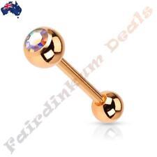 Rose Gold Ion Plated Barbell Tongue Ring With Aurora Borealis Crystal Set Ball