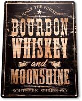 """Bourbon Whiskey"" Moonshine Decor Wall Art Bar Beer Sign"