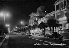 Cartolina Lido di Roma Lungomare Notturno auto d'epoca