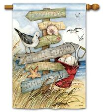 """New listing Signs of Summer Beach Ocean 28"""" x 40"""" Outdoor House Flag"""