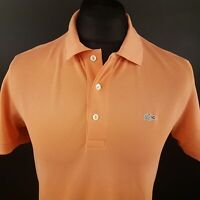 Lacoste Mens Polo Shirt 4 (SMALL) Short Sleeve Orange Regular No Pattern Cotton