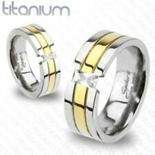 Solid Titanium with Gold Plated with CZ Stone Ring 6-11