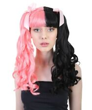 Adult Cosplay Melanie Style Pink ribbon Party Costume Pink & Black Wig HW-1101A