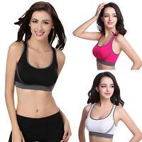 New Seamless Yoga Sports Bra Crop Top Comfort Stretch Vest Sports Padded Bras UK