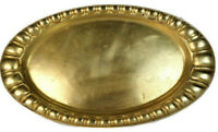 Antique Brass Oval Tray, LArge Serving Platter