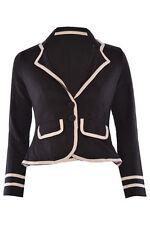 Ladies Women Military Blazer Nautical Long Sleeve Button Slim Coat Top Jacket Black UK 10