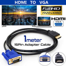 1080P HDMI Male To VGA Male Cable Converter Adapter For PC TV Monitor DVD Box 1M