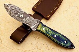 CUSTOM HAND MADE DAMASCUS STEEL BLADE SKINNING HUNTING KNIFE - #  W-704