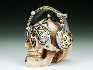 Steampunk Skull with Headphone Figurine Statue Skeleton Halloween