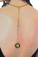 De Mujer Largo Moda Conjunto Collar y Pendientes Flecos Metal Cadenas Oro Plata