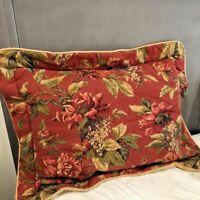 Croscill Serena Pillow Shams Set 2 Brick Red Floral Padded Standard Shams Flange