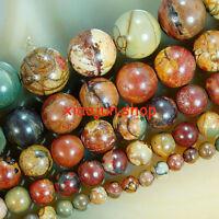 "4,6,8,10,12,14mm Natural Picasso Jasper Round Gemstone Loose Beads 15""L Choose"