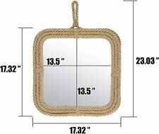 Vintage Square Rope Mirror with Hanging Loop, Vintage Nautical Home Decor