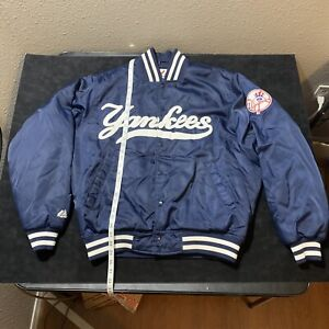New York Yankees MLB Baseball Satin Varsity Jacket Nylon Sz L Vintage Majestic