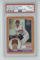 2018 Topps Chrome Shohei Ohtani Rookie RC 83 Orange Refactor PSA 9 Mint 08/25