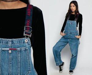 Tommy Hilfiger Vintage Y2K Blue Denim Signature Straps Overalls Women's Small