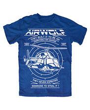 Airwolf  T-Shirt BLAU Helikopter Hubschrauber Kult TV Serie 80er Huckleberry