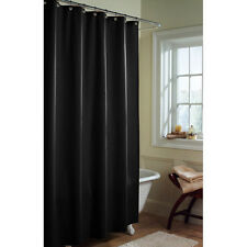 "Heavy Fabric Shower Curtain Liner Water Repellent * weighted Hem  Black 70""x70"""