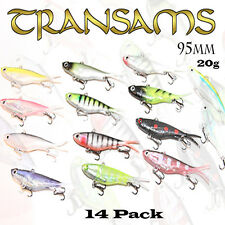 14x Mullet Transam Lures 95mm Soft Fishing Lure Plastic Vibes Jack Barra 20g