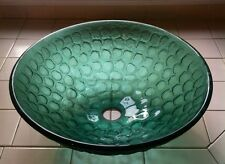 "Bathroom Modern Round Green Vanity Tampered Glass Sink Basin Bowl 16.5"""