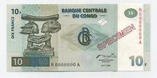 Congo Dem. Rep. 10 Francs 1-11-1997 Pick 87.s UNC Specimen Banknote NBBPW