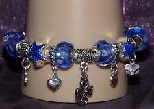 New 925 Sterling Silver Filled Blue Enamel and Crystal Fashion Charm Bracelet