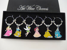 6 Sparkly Crystal Glass and Silver Disney Princess Wine Glass Charms in Gift Box