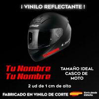 PEGATINAS PERSONALIZABLES (X2) CON TU NOMBRE ROJO REFLECTANTE CASCO DE MOTO