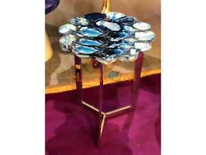 """18"""" Blue Agate Stone Side Coffee Table Top Designer Living Room Decorative A101"""