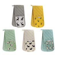 Animal Printed Double Oven Gloves Heavy Duty 100% Cotton Heat Resistant Mitts