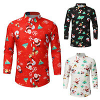 Christmas Men Printed Clothes Long Sleeve Tops Shirt Xmas Party Shirts T-Shirt