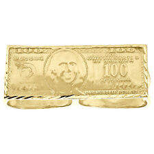 10K Yellow Gold Benjamin Franklin US $100 Dollar Bill Two Finger Statement Ring