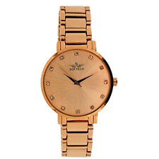 Softech Rose Gold Plated Strap Dial Ladies Diamante Bracelet Watch Analog Quartz