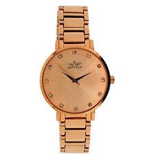 Softech Chapado en Oro Rosa Correa Dial Reloj De Señoras Diamante Pulsera analógico de cuarzo