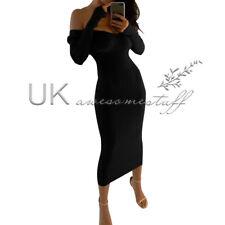 UK Womens Off Shoulder Bodycon Party Midi Dress Ladies Evening Dress Size 6 - 16