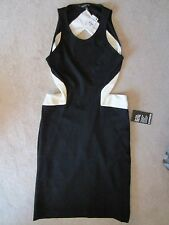 WOMEN'S EXPRESS BLACK WHITE SLEEVELESS FITTED STRETCH OPEN BACK SEXY DRESS XS