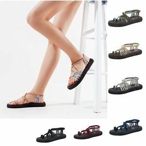 Women's Summer Flat Sandals Strap Yoga Lightweight Sponge Rubber Outsole Shoes