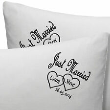 PERSONALISED EMBROIDERED ANNIVERSARY / WEDDING PILLOW CASES NAMES, DATE