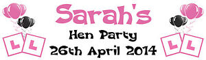 PERSONALISED HEN PARTY LARGE PAPER BANNER PINK AND BLACK L@@K