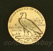 """ANTIQUE GOLD 2 1/2 DOLLARS REPRODUCTION COIN CONCHO SIZE 3/4"""" -TAIL screw back"""