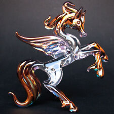 Pegasus Rearing Flying Horse Hand Blown Glass Figurine